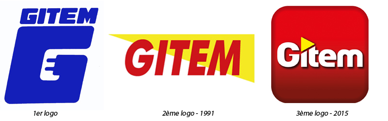 Les 3 logos Gitem : celui créé en 1972, celui après la 1ère modernisation et celui utilisé aujourd'hui